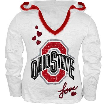 Ohio State Buckeyes - Girls Juvy Burnout Hooded Long Sleeve T-Shirt
