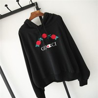 ''GUCCI'' Hot Sale Embroidery Rose Flower Blouse loose type Hoodie Sweatershirt Black