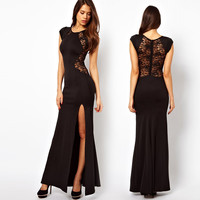 Black Casual Lace Embroidered Back Slit Maxi Dress
