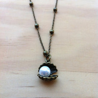 "Pearl and Clam ""The World is Your Oyster""  Necklace"