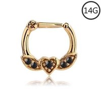 Gold Plated Septum Clicker Nose Ring Hoop Ear Cartilage Helix Black CZ 14G