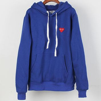 PLAY tide brand simple classic logo loose plus velvet hoodie blue