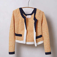 Anthropologie - Colorblock Cropped Cardigan
