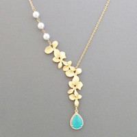 Personal, Stone, Color, Triple, White, Pearl, Orchid, Gold, Silver, Beautiful, Modern, Flower, Necklace, Custom, Color, Gift, Jewelry