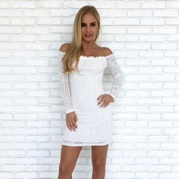 Rare Find Lace Bodycon Dress in White