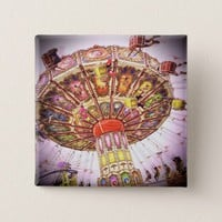Vintage retro pink sky carnival swing ride photo button
