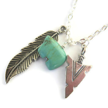 Native Roots Necklace, Feather Arrowhead, Zuni Bear Necklace, Native American Indian, Southwest, 24 inches, Choose Your Length, Silver