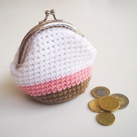 Crochet Coin Purse Clasp Bag Wallet Clutch Pouch Change Purse Pastel Handmade Personalized womens Personalized teens