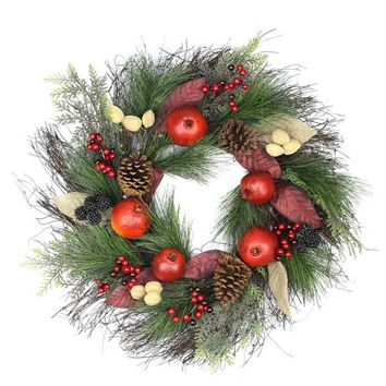 "24"" Autumn Harvest Mixed Pine  Berry and Nut Thanksgiving Fall Wreath - Unlit"