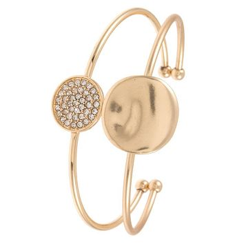 Rhinestone and waved disk cuff bracelet (a)