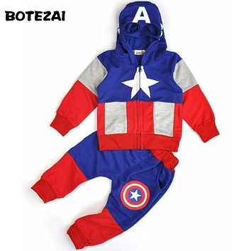2017 New Fashion Anime Style Children Set Baby Boy Sport Sets Suit Cartoon Captain America Hoodie Sweater + pants boys Clothes