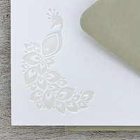 Peacock Note Card Set Letterpress - Pearl, Light Grey, Gray - 10 pack (NPE01)