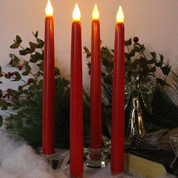 Set of 4 Flameless Candles with Timer Red Wax and Amber Yellow Flame