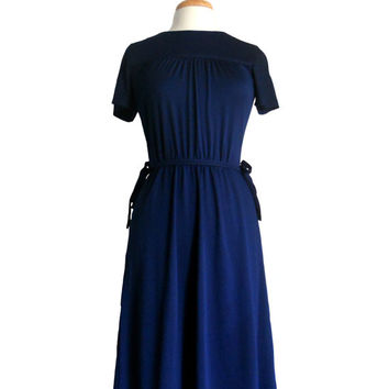 Vintage Dress Navy Midi Length with Short Sleeves Multi Panel Skirt and Waist Ties by Cirette California