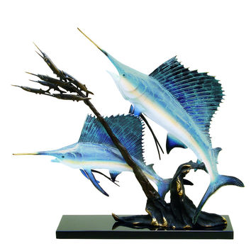 Sailfish Going After Ballyhoo Marble and Brass Sculpture