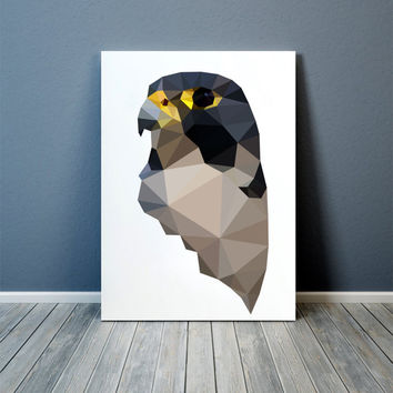 Bird of prey print Wall art Falcon poster Geometric decor TOA71