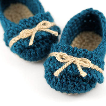 Crochet Ballet Slippers with Ruffles // Dark Teal and Tan // Newborn Baby Booties