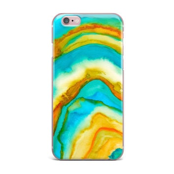 """Viviana Gonzalez """"Agate Inspired Watercolor 10"""" Coral Yellow Watercolor iPhone Case"""