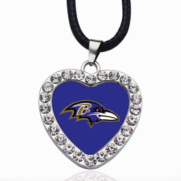 Wimpy kid Baltimore Ravens Pendant Necklace Best Gift for /Women/Girl/Men/Mom Clear Crystal Link Chain Necklace Jewelry 2pcs/lot