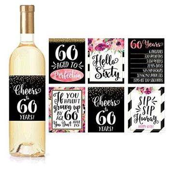 6 60th Birthday Wine Bottle Labels or Stickers Present 1958 Bday Milestone Gifts For Her Women Cheers to 60 Years Funny Sixty Chic Pink Black Gold Party Decoration Centerpiece Supplies For Wife Mom