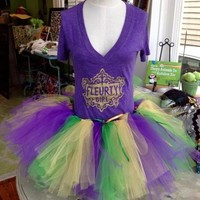Fleurty Girl - Everything New Orleans - Mardi Gras Tutu, Debut Princess (0/2T) - Footwear & Accessories