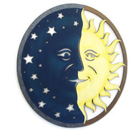 Sun and Moon Wall Art hand painted wood cut out in navy and yellow, 15 inch large nursery decor, celestial folk art