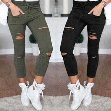 DCCKHQ6 Women Denim Pants Holes Destroyed Knee Pencil Pants Casual Trousers Black White Stretch Ripped Jeans