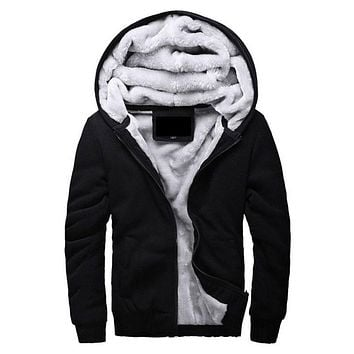 Men's Hooded Casual Brand Hoodies Clothing Wool Liner Mens Winter Thickened Warm Coat Male M-4XL