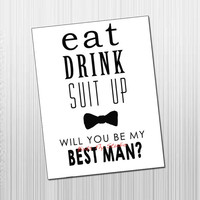 Will You Be My Groomsman / Best Man Card - DIY Printable Best Man Groomsman Card
