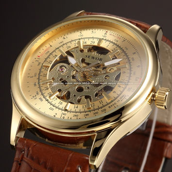 SEWOR New Gold Leather Skeleton Watch Men Luxury Brand Automatic Montre Homme Wrist Watch For Men Designer Watches Luxury Watch