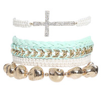 5 Piece Cross Skull Bracelet | Shop Jewelry at Wet Seal