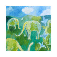 "Hedge Elephants, A 4 "" x 5.6 card, printed on high quality gloss paper. An original oil painting by Romany Steele"