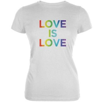 DCCKU3R LGBT Gay Pride Love Is Love White Juniors Soft T-Shirt