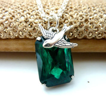 Emerald Green Necklace May Birthstone Silver sparrow bird Rhinestone Estate Style jewelry