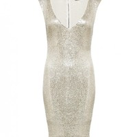 alice + olivia | EMBELLISHED LOW V-NECK DRESS