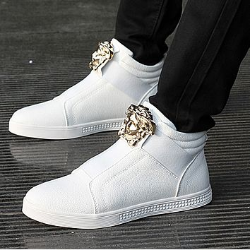 Versace spring and summer youth shoes high top student sports shoes Korean tide men's white England casual shoes breathable