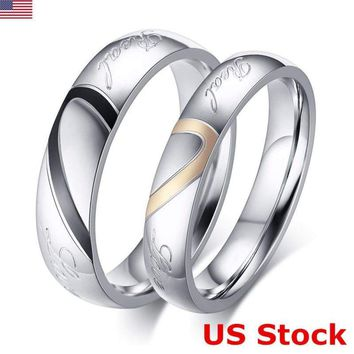 Titanium Stainless Steel 316L Silver Love Heart Promise Ring Couple Wedding Band