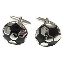 Silver and Black Soccer Ball Cufflinks [Jewelry]