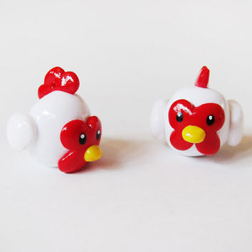 Polymer Clay Little White Hen Chicken Charm
