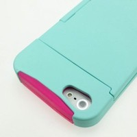 For Apple iPhone 5 5S - Wydan Wydan Hybrid Credit Card ID Holster Case Stand Hard Silicone Cover - Mint Green on Pink w/ Wydan Stylus Pen, Prying Tool