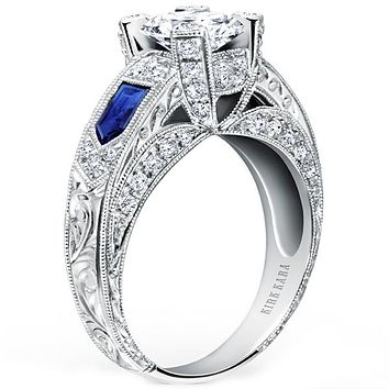 "Kirk Kara ""Charlotte"" Kite Cut Blue Sapphire Diamond Engagement Ring"