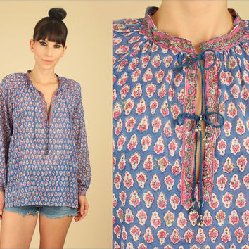 ViNtAgE 70's ZoDiAc Deadstock India Sheer Cotton Babydoll Tunic Floral Boho Hippie Top Large L