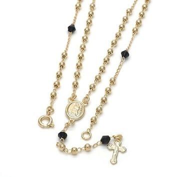 Gold Layered 09.09.0009.18 Thin Rosary, Guadalupe and Crucifix Design, with Black Azavache, Polished Finish, Golden Tone