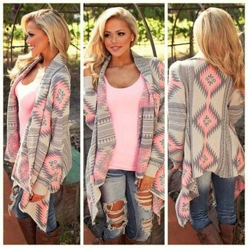 ESBOND Women New Fashion Aztec Printed Long Sleeved Casual All-Match Cardigans