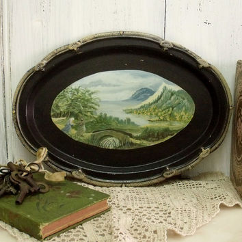 Vintage Country water scene handpainted metal tray religious painted tray Shabby chic decorative tray home decor