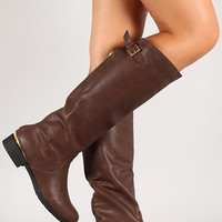 Qupid Turner-07 Buckle Round Toe Knee High Riding Boot