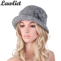 Winter Hat for Women Wool Beret Cap Middle Age Women Beanies Hat Gatsby Style 1920s Ladies Cloche Church Hat Sombrero Bonnet Cap