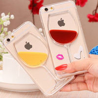 5S Capa Liquid Quicksand Hourglass Creative Phone Case For Apple iPhone 5 5S Red Lip Wine Glass Clear Transparent  Cover Shell