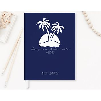 Wedding Guest Book, Hardcover, Palm Trees, Navy, Choice of Sizes and Colors