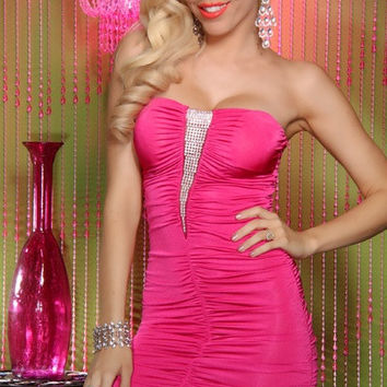 Pink Strapless Front Sequined Ruched Bodycon Mini Dress